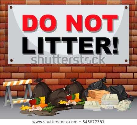 сцена мусор знак не продовольствие пейзаж Сток-фото © bluering