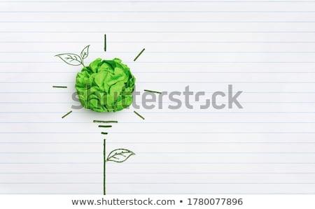 Green crumpled paper background Stock photo © andreasberheide