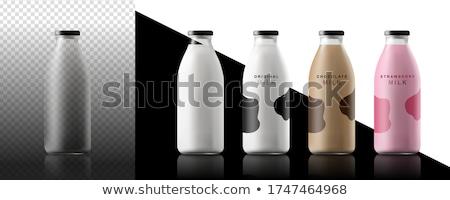 新鮮な イチゴ ミルク ボトル 木製 木材 ストックフォト © Yatsenko