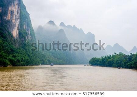 Foto d'archivio: Navi · misty · fiume · barche · mattina