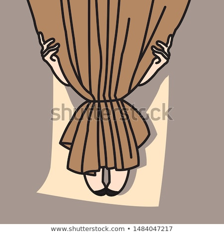 woman hides behind a brown curtain Stock photo © ssuaphoto