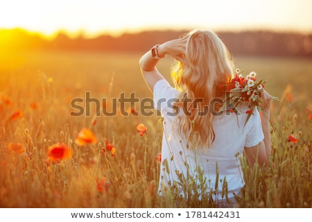 beautiful blond woman back stock photo © lubavnel