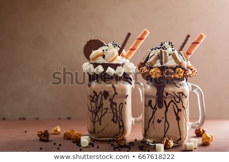 Chocolade milkshake oude houten vruchten glas Stockfoto © Yatsenko