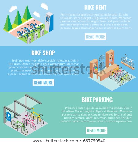 vector isometric illustration of bicycle parking concept stock photo © curiosity