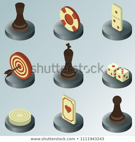 Zwarte schaakstuk pion isometrische foto realistisch Stockfoto © kup1984
