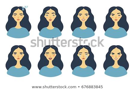 Adesivo projeto expressões faciais ilustração cara arte Foto stock © bluering