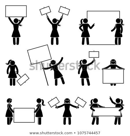 Mulher silhueta quadro de avisos as mãos levantadas isolado branco Foto stock © robuart