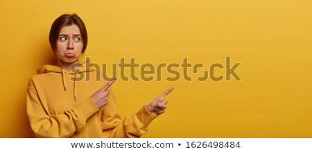 Jong meisje wijzend vingers beide Stockfoto © deandrobot