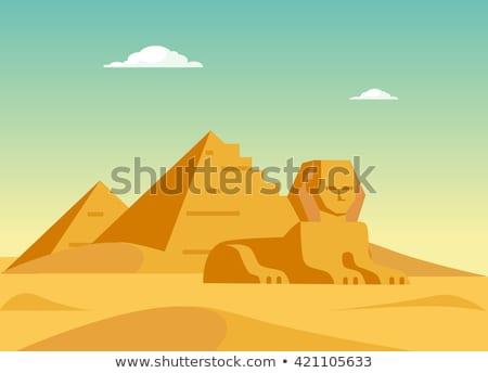 flag pyramids in desert stock photo © givaga