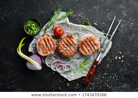 Carne de porco pormenor fresco alecrim Foto stock © Digifoodstock