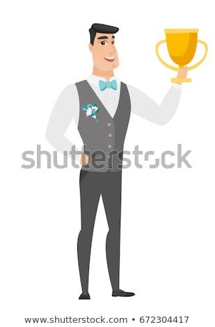 ストックフォト: 白人 · 新郎 · トロフィー · 結婚式 · スーツ