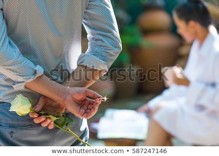 Férfi készít házasság javaslat fiatal kaukázusi Stock fotó © RAStudio