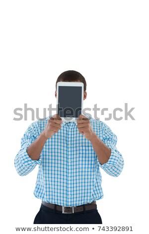 Masculina ejecutivo ocultación cara digital tableta Foto stock © wavebreak_media