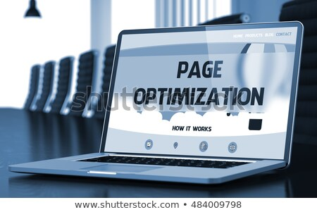 on page optimization on laptop in conference room 3d stock photo © tashatuvango