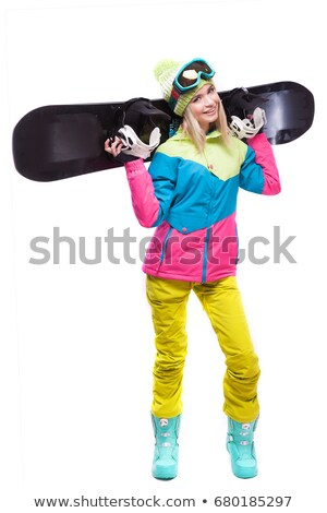 beauty young woman with snowboard on sholders Stock photo © Traimak