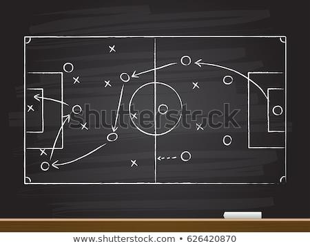 Foto stock: Campo · de · fútbol · pizarra · escuela · dibujo · estrategia · fútbol