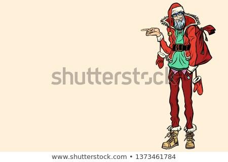Hipster Santa Claus pointing sideways Stock photo © studiostoks