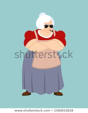 grandmother strong cool serious grandma smoking cigar emoji ol stock photo © popaukropa