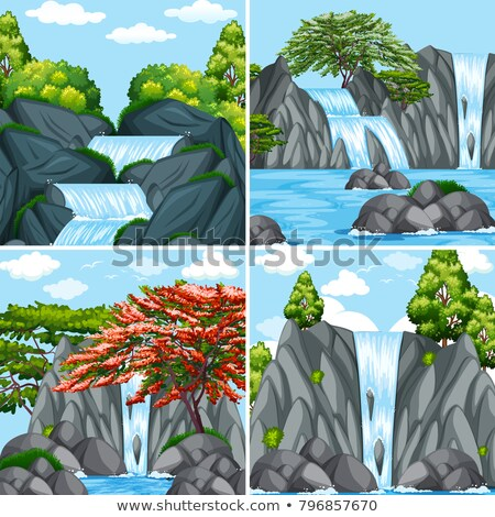 Four scenes of waterfall at daytime Stock photo © bluering