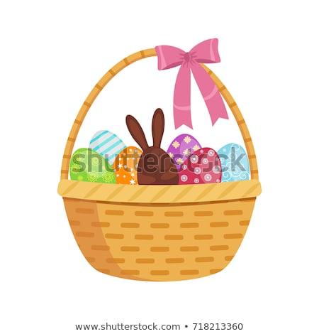 Renkli paskalya yumurtası sepet easter bunny Paskalya mutlu Stok fotoğraf © Zerbor