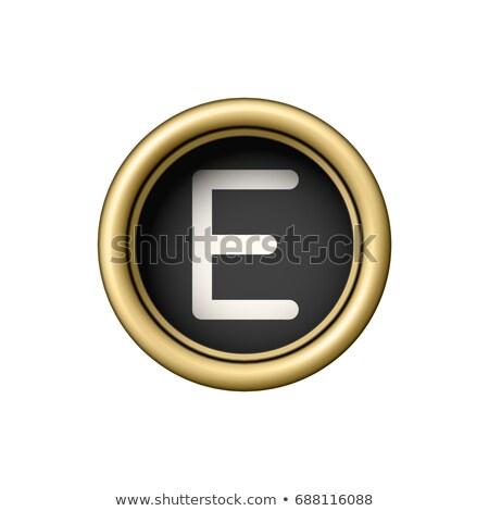 Vintage gouden schrijfmachine knop geïsoleerd Stockfoto © pakete