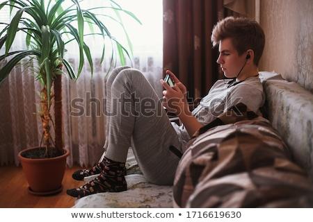счастливым бизнесмен Дать смешные sms телефон Сток-фото © feedough