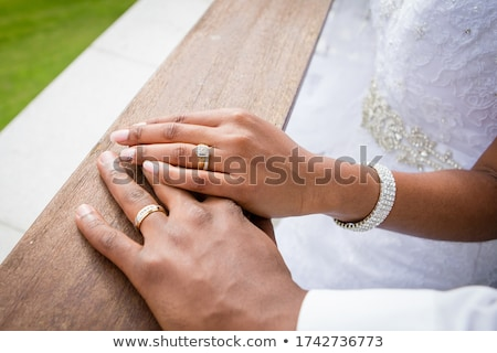 Engagement, bride and groom wedding ring. African people Stock photo © studiostoks