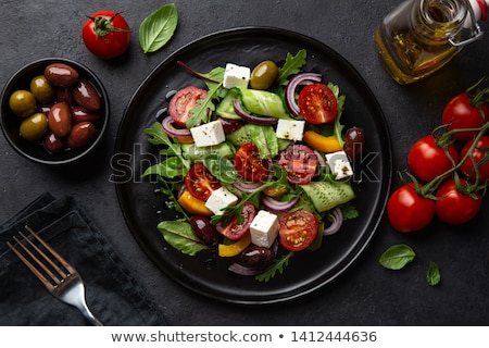 Vegetal salada feta oliva tomates comida Foto stock © M-studio