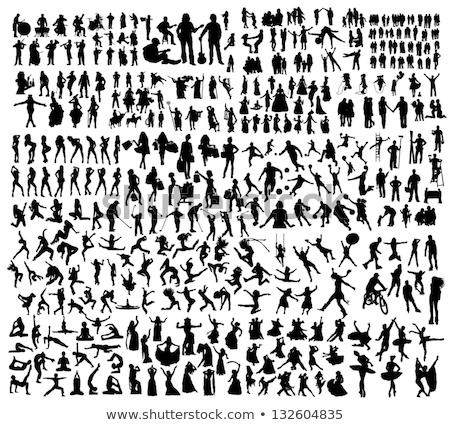 muzikanten · silhouetten · mannelijke · zanger · zingen - stockfoto © krisdog