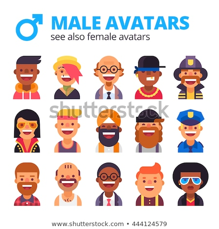 Stock photo:  Cool avatars flat icons different clothes,tones and hair styles