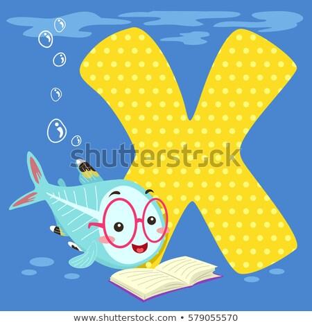 ábécé csempe röntgen hal olvas illusztráció Stock fotó © lenm