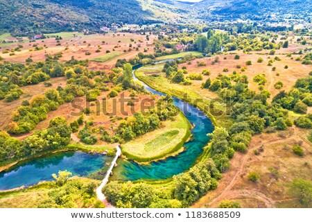Rzeki dolinie widok z lotu ptaka region Chorwacja drzewo Zdjęcia stock © xbrchx