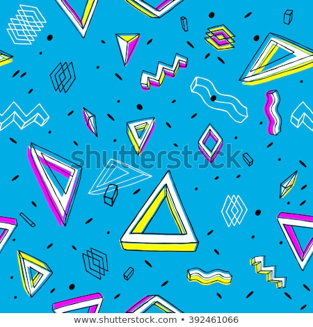 seamless abstract geometric pattern in retro memphis style scatteres shapes vector background stock photo © samolevsky