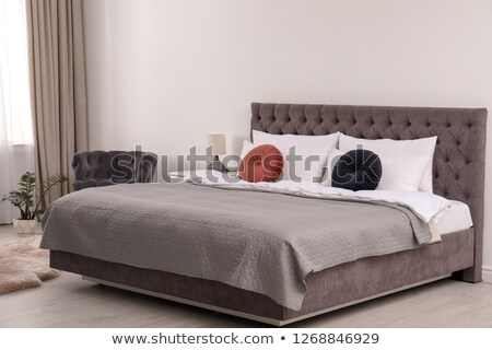Bedroom with Soft Spacious Bed near Large Window Stock photo © robuart
