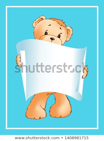 I Love You Inscription on Paper Scroll Teddy Bear Stock photo © robuart