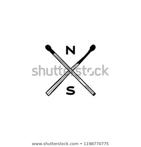 vintage hand drawn camping adventure crest logo matches icons symbols retro monochrome design ca stock photo © jeksongraphics