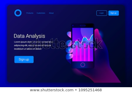 flat isometric vector landing page template for data analysis stock photo © tarikvision