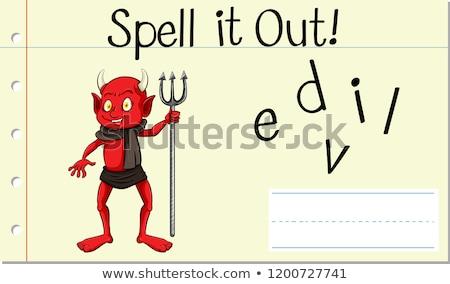 Varázsige angol szó ördög illusztráció iskola Stock fotó © bluering