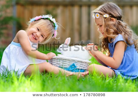 Group of girls and pets Stock photo © bluering