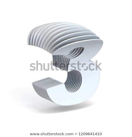 Stock photo: Curved paper sheets Number 3 THREE 3D