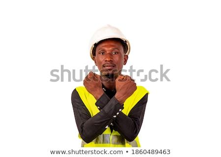 Işadamı kask ayakta eller katlanmış Stok fotoğraf © feedough