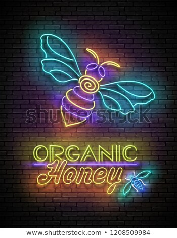 Vintage Glow Poster with Bee and Organic Honey Inscription Stock photo © lissantee