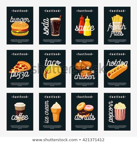 Fast food collectie smakelijk snacks kleurrijk kaart Stockfoto © robuart