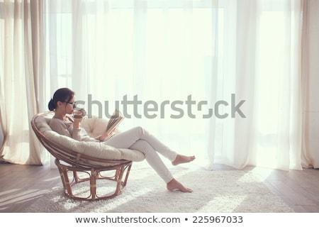 Stockfoto: Vrouw · woonkamer · lezing · boek · vrouwen · home