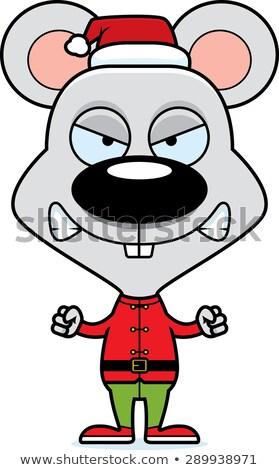 Cartoon Angry Xmas Elf Mouse Stock photo © cthoman