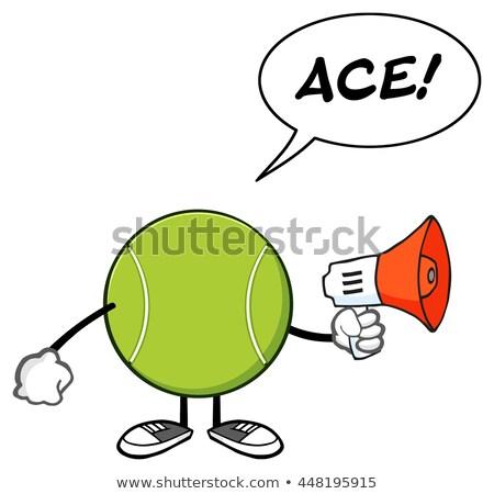 Teniszlabda rajzfilm kabala karakter közlemény megafon szövegbuborék Stock fotó © hittoon