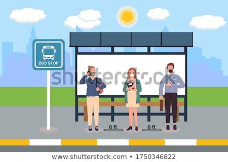 çok insanlar bekleme otobüs durağı örnek kız Stok fotoğraf © colematt