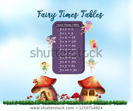 aantal · negen · tabel · illustratie · meisje · achtergrond - stockfoto © colematt