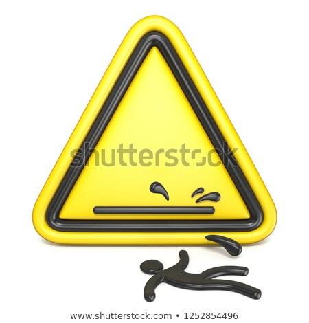 влажный · полу · знак · желтый · осторожность · скользкий - Сток-фото © djmilic