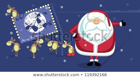 Santa Claus hitchhiking on Christmas night. Holiday character fl Stock photo © IvanDubovik